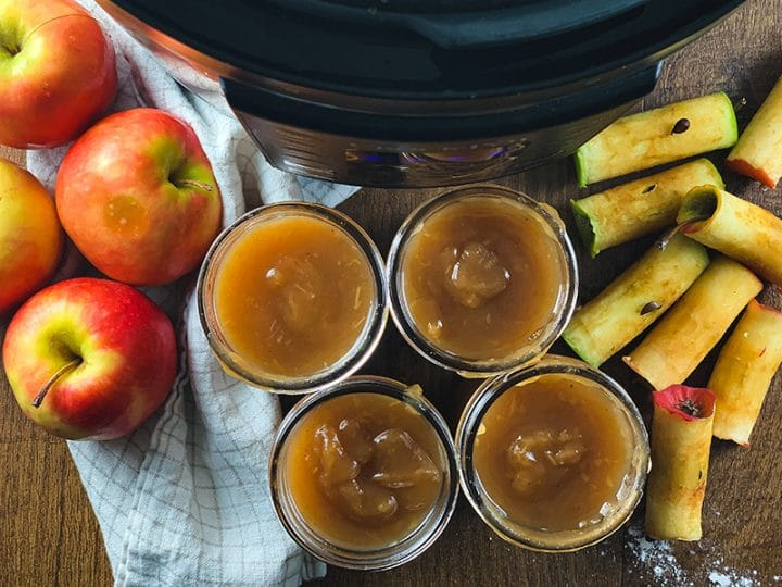 finished instant pot apple butter with apples and apple cores