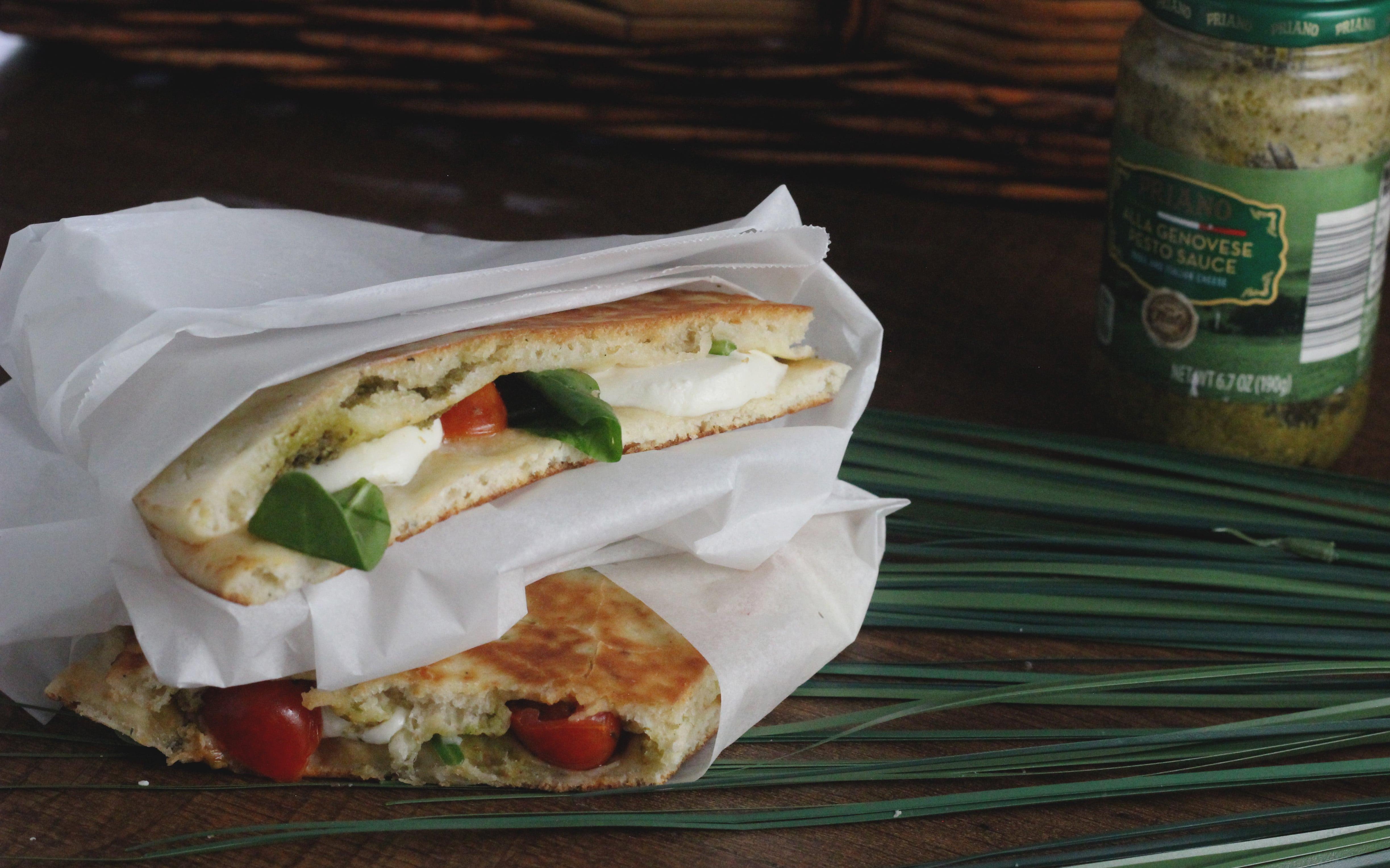 naan bread caprese sandwiches