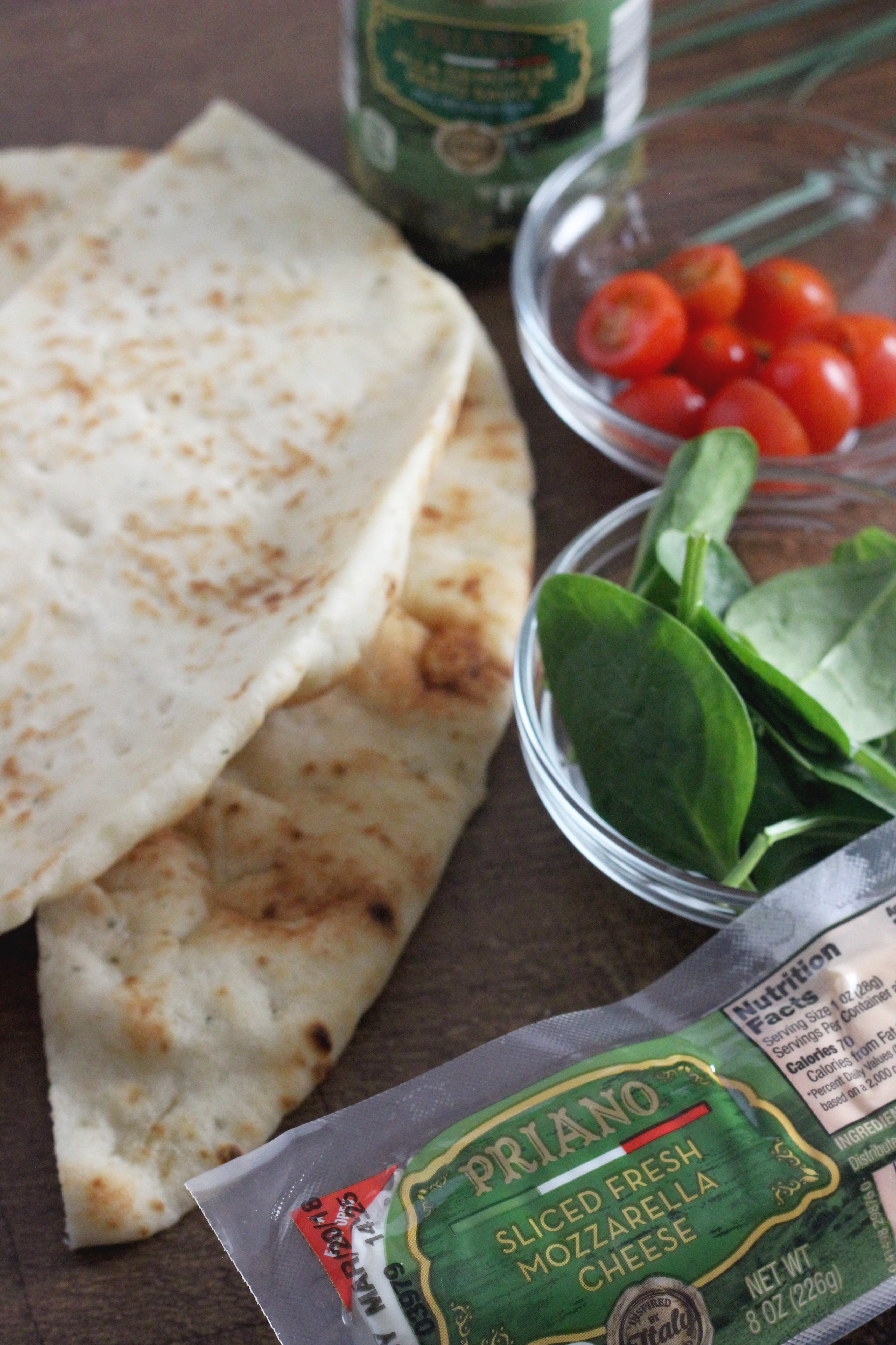 ingredients for naan bread caprese sandwiches