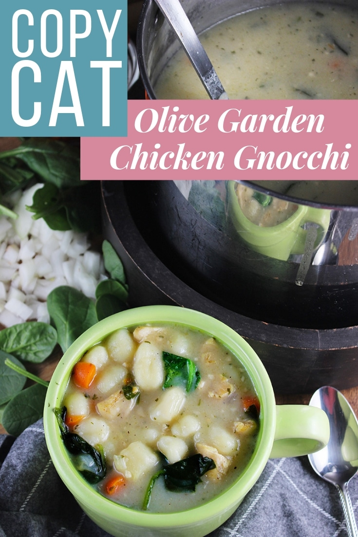 Copycat Olive Garden Inspired Chicken Gnocchi Soup A hearty combination of chicken, vegetables and potato gnocchi that can be served up as a precursor to a delicious meal, or as the meal itself. #chickensoup #chickengnoccisouprecipe #chickennoodlesoup #homemadesoup #souprecipe #olivegardensoup #copycatchickengnocchisoup