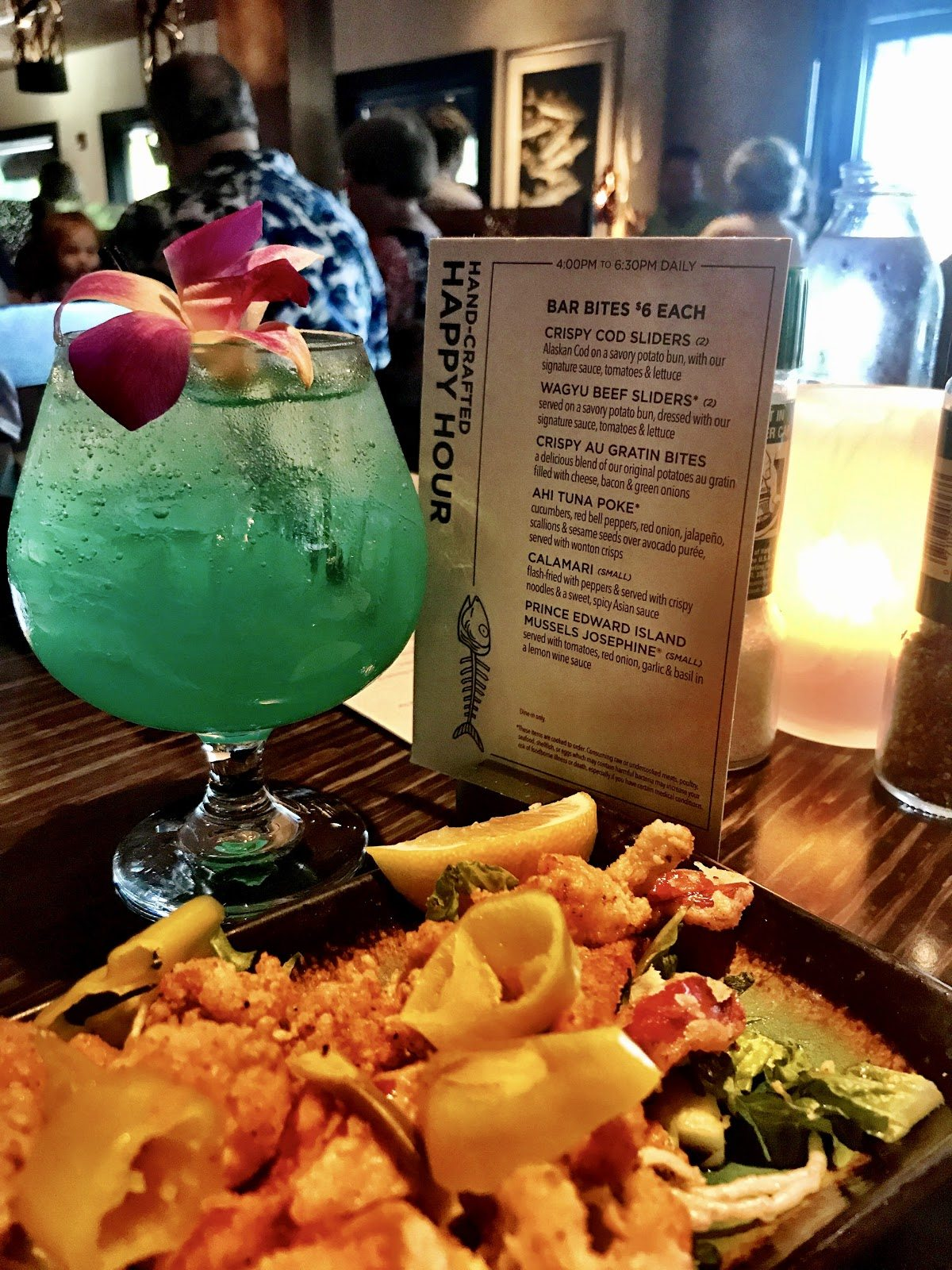 Bonefish Bar and Grill Calamari & The Blue Hawaiian Martini