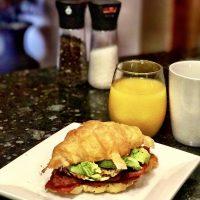 Bacon, Avocado Croissant Breakfast Sandwich