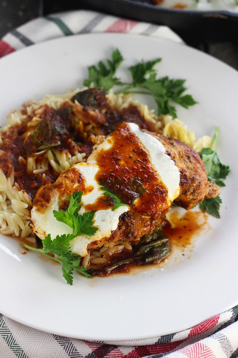 A delicious combination of tangy, sweet sauce with chicken and spinach served atop delicious Orzo.