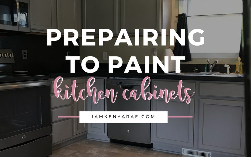 preparing to paint kitchen cabinets