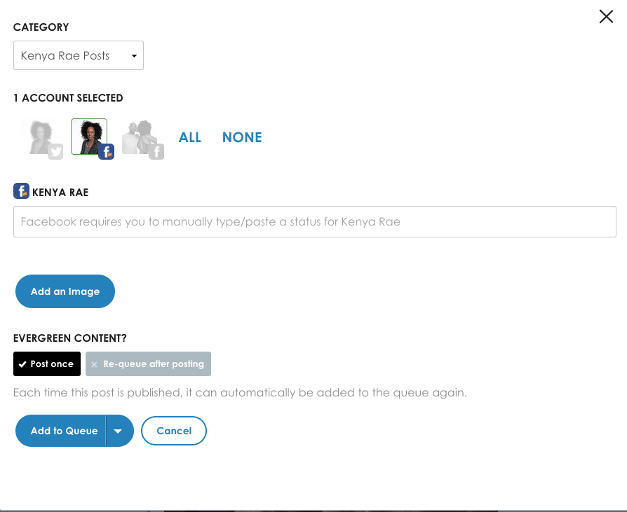Select account & if it should be re-posted