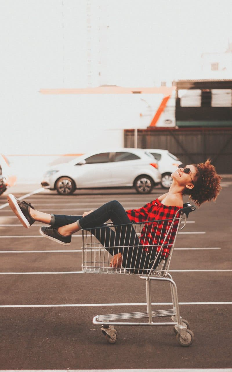 woman in grocery cart