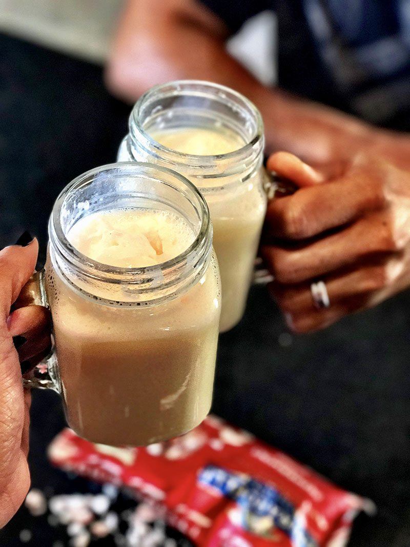 Peppermint White Hot Chocolate A drink that can stand on its own but with the added yum of all the minty deliciousness your taste buds can handle.