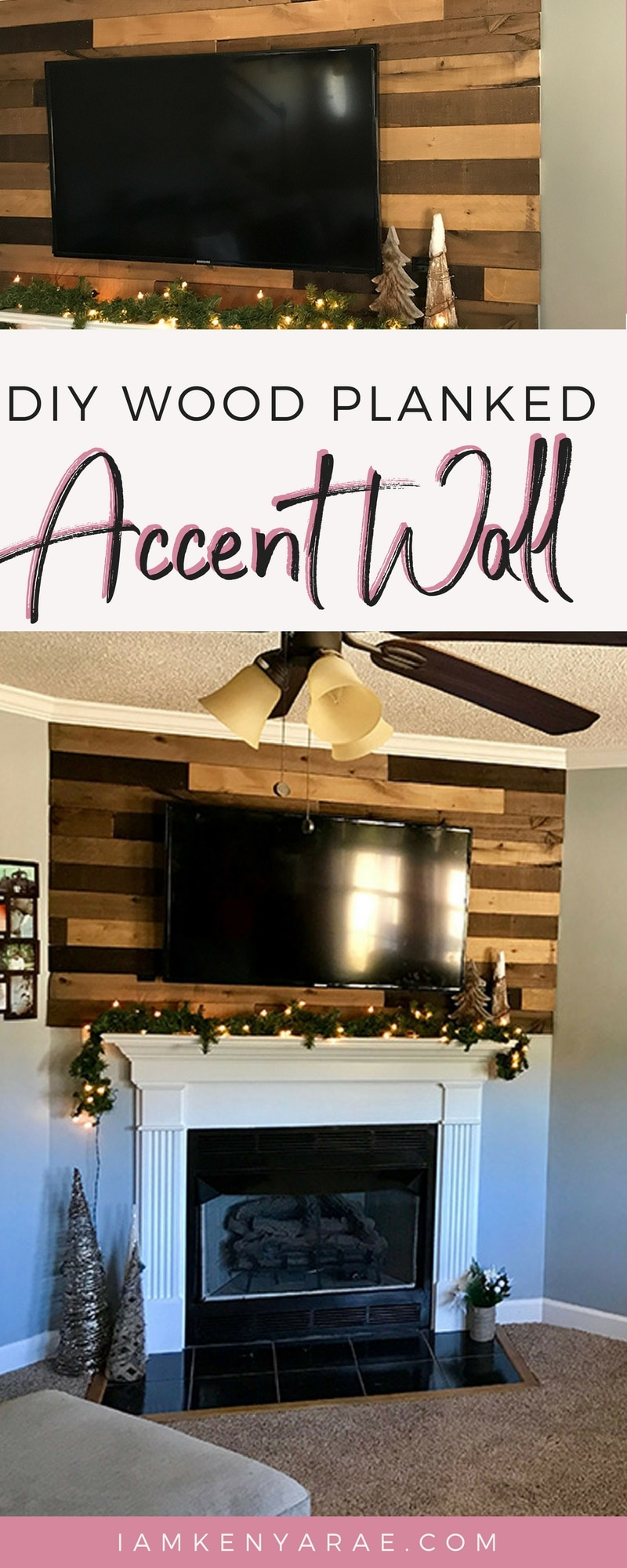 DIY Wood Planked Accent Wall A wood planked accent wall using @weaberlumber above the fireplace mantle that adds character and modern farmhouse mixed with cabin charm feeling.