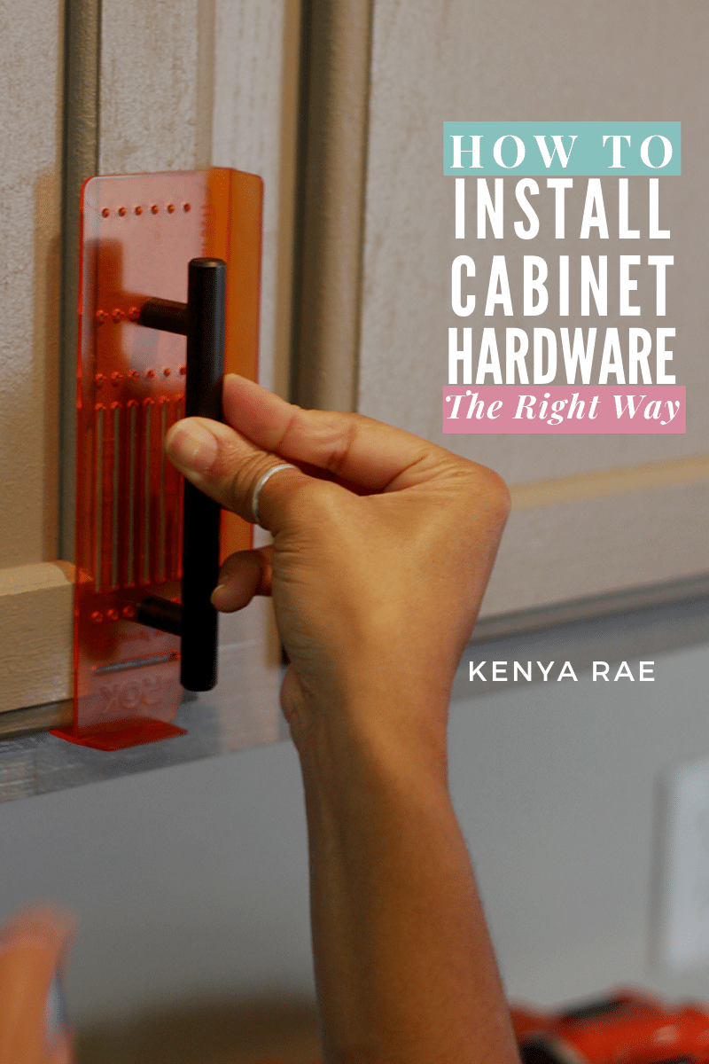 How To Install Cabinet Hardware Without Messing Them Up Without making your own template you can have perfectly aligned and straight handles and drawer pulls too! #kitchencabinets #DIYcabinets #installinghardware #cabinethardware #DIYkitchen #kitchenmakeover