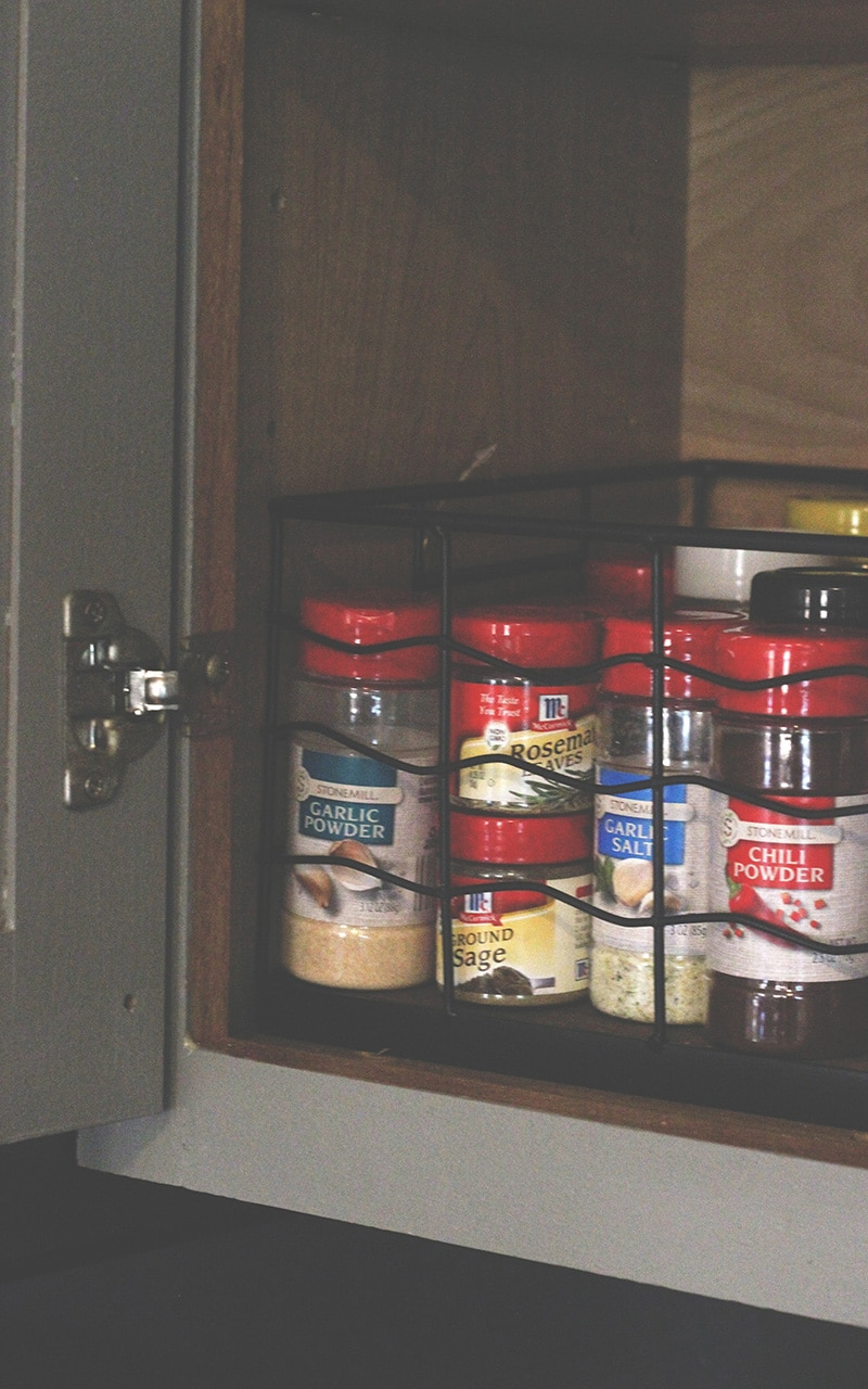 spices in kitchen cabinet