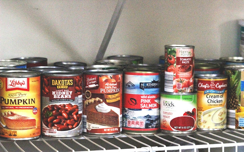 canned goods in well-stocked pantry