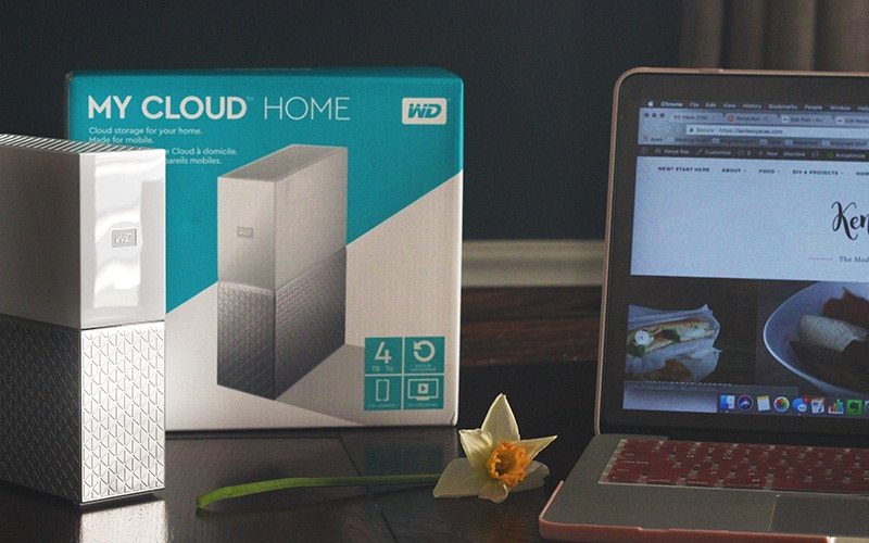 my cloud home on table with macbook pro and flower