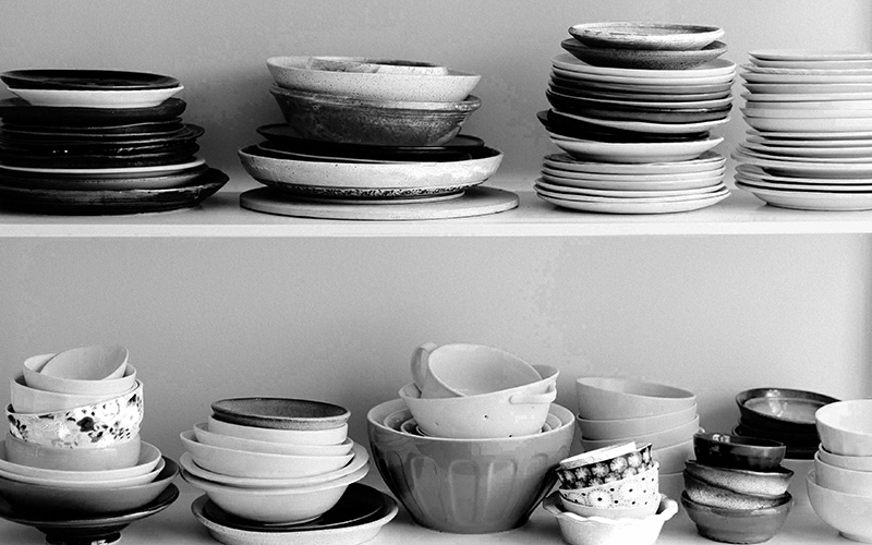 bowls stacked on shelves