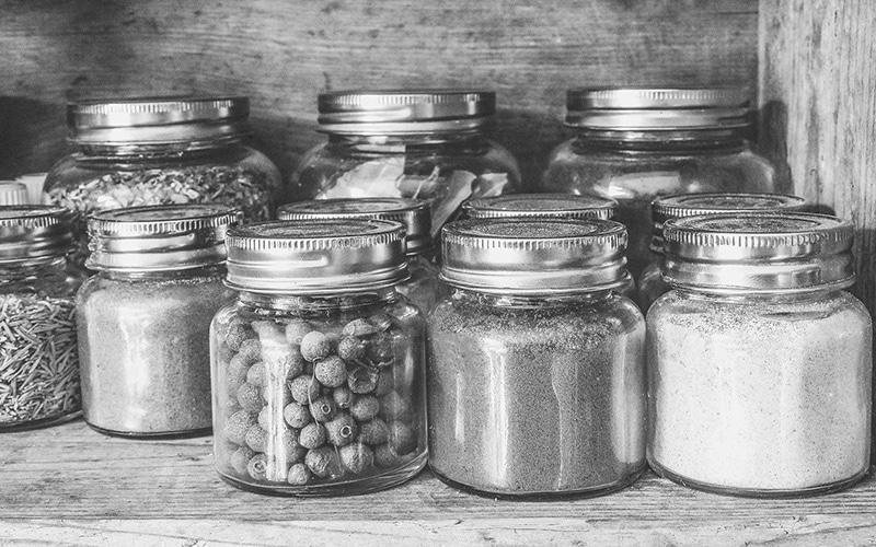 mason jars with stored goods
