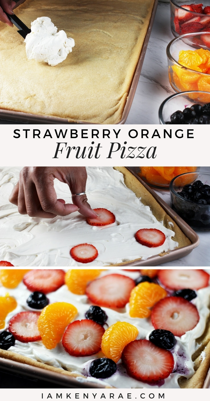 Strawberry Mandarin Orange Fruit Pizza A pizza with a sugar cookie for the crust, whipped cream cheese