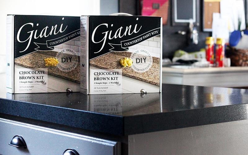 giani granite chocolate brown counter kits on black granite countertop