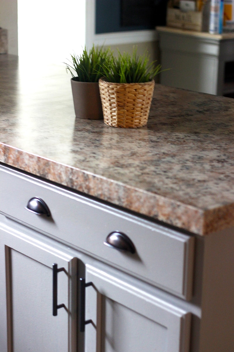 DIY painted countertop with 2 plants on them