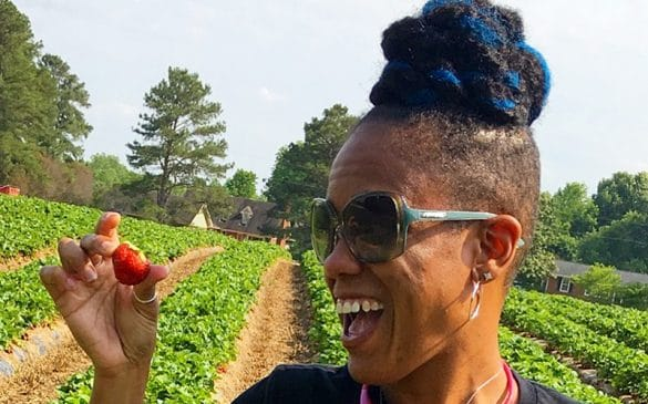 kenya rae at the collard patch strawberry picking in wake forest