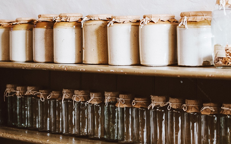 kitchen pantry stocked with jars