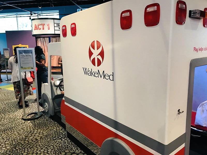 wake med hospital ambulance at marbles musuem