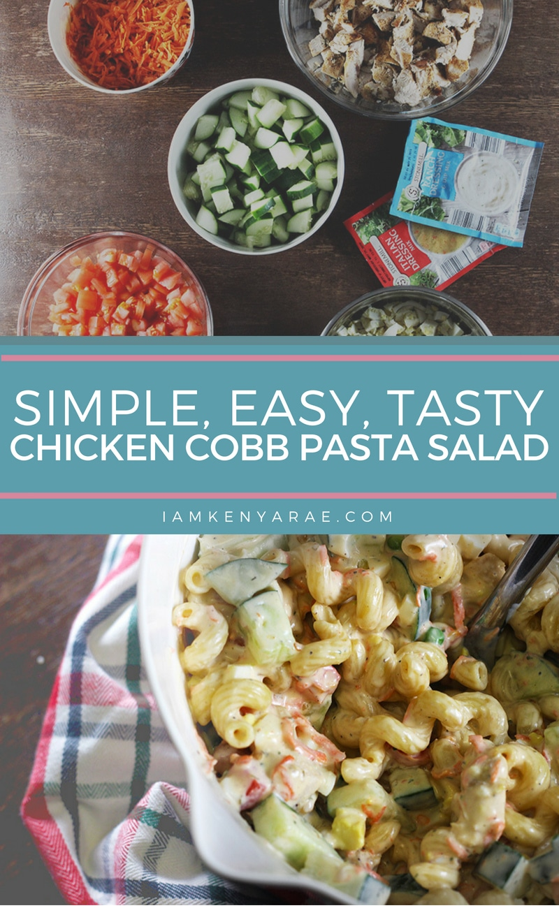 Chicken Cobb Pasta Salad A creamy tangy blend of veggies and chicken with firm pasta and every bit of salad goodness without lettuce in this Chicken Cobb Pasta Salad recipe. #pastarecipe #pastasalad #chickenrecipe #bbqrecipe #vegetablerecipes #4thofjulyrecipe #picnicrecipe