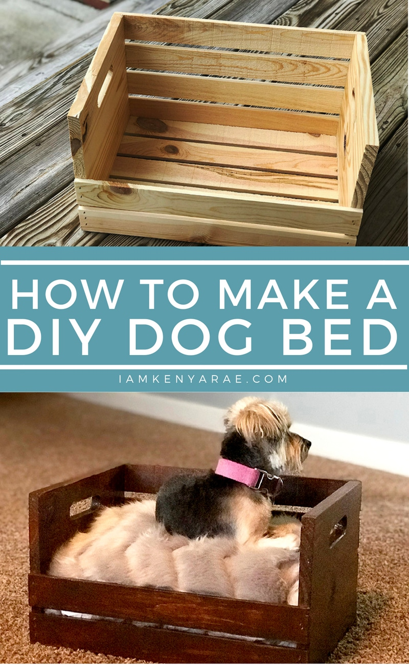 How To Make a DIY Dog Bed For Under $25 A DIY dog bed made with a simple crate and a nice throw pillow. Who says chic has to be expensive. #diydecor #dogfurniture #dogbed #crateproject #cratebed #diyproject