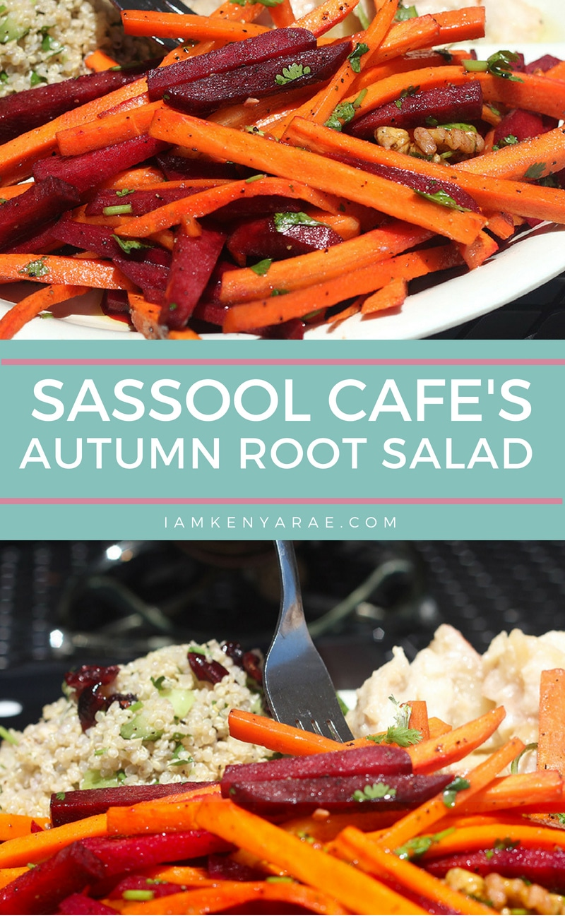 Sassool Cafe Autumn Root Salad Recipe A surprisingly sweet root salad with a flavor (and color) pop. The colorful and flavorful combination is pretty to look at but even more vibrant on your taste buds. #glutenfree #vegetarian #raleighNC #raleighrestaurants