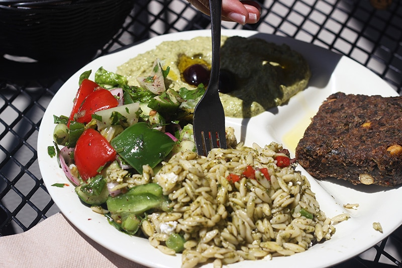Jalapeno Cilantro Hummus, Orzo Pasta Salad, and Veggie Kibbeh from Sassool Cafe