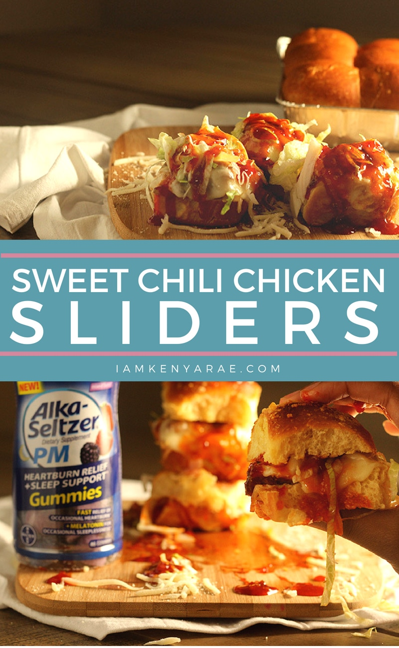 Sweet Chili Chicken Sliders A tad bit sweet, with a little heat.  These sweet chili chicken sliders are the perfect combo of sweet, spicy and oh so saucy! #30minutemeals #thirtyminutemeals #sliderrecipes #chickenrecipes #sandwichrecipes