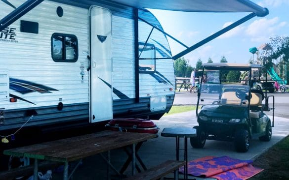 Rv camper and golf cart
