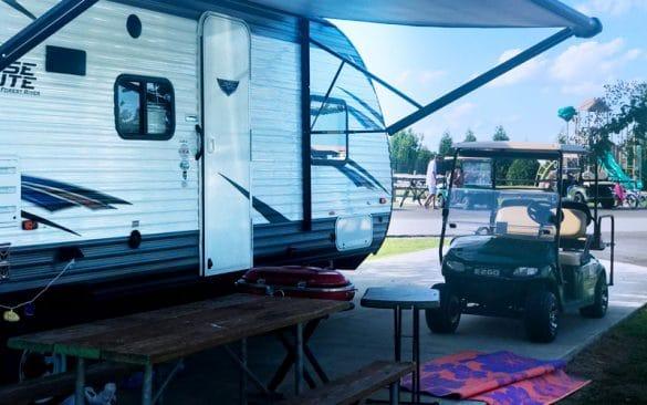 Rv camper and golf cart