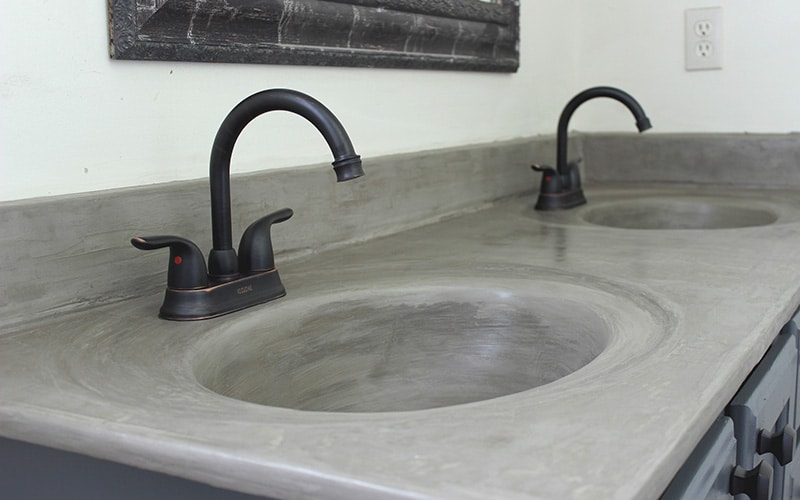 marble sink update with concrete