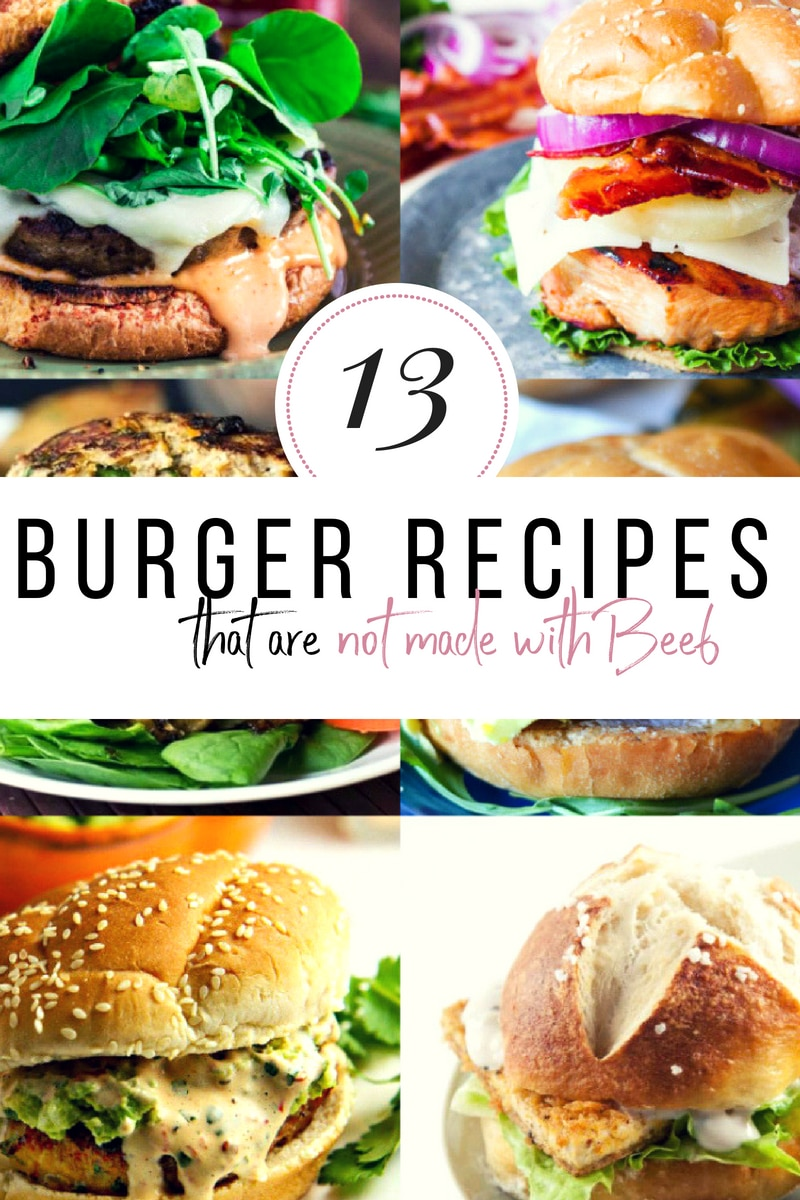 Who says you have to have beef to have a banging burger? These are 13 burger recipes that are not made with beef but servin up all the taste if not more of their cow counterparts. #burgers #burgerrecipes #dinnerrecipes #30minutemeals