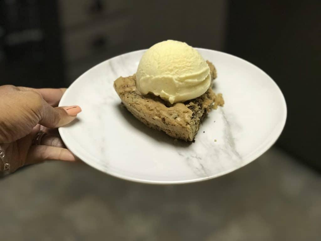 homemade vanilla ice cream a cookie cake