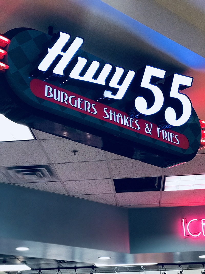 Hwy 55 is a gem located inside the Crabtree Valley Mall. With a 50's diner vibe, look, and overall feel. They serve up sandwiches with finger food sides and some of the most delicious custard. #ad