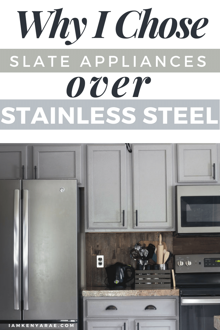 Why I Chose Slate Appliances Over Stainless Steel When it came time to purchase new appliances I knew slate appliances were my choice hands down!  I was no longer on the stainless steel bandwagon. #stainlesssteel #appliances #kitchendecor #kitchenappliances