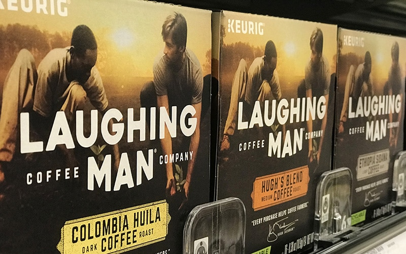 Laughing Man Coffee on store shelves