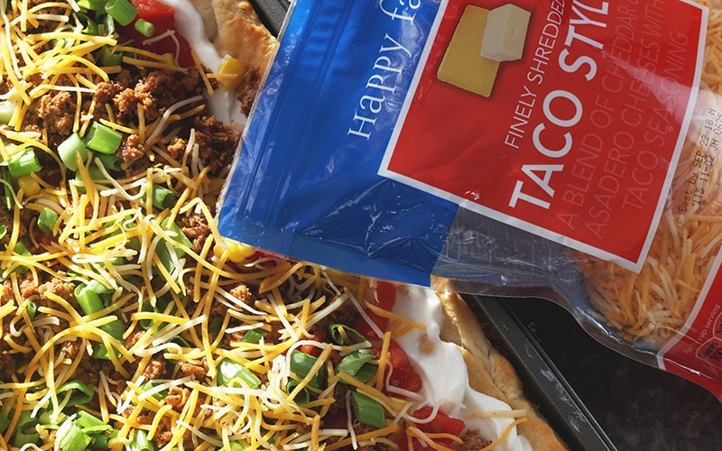 taco pizza with shredded cheese package