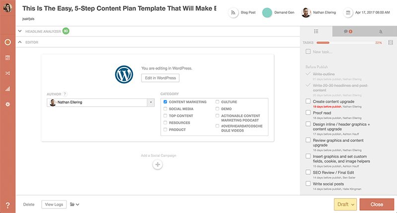 importing wordpress content from coschedule