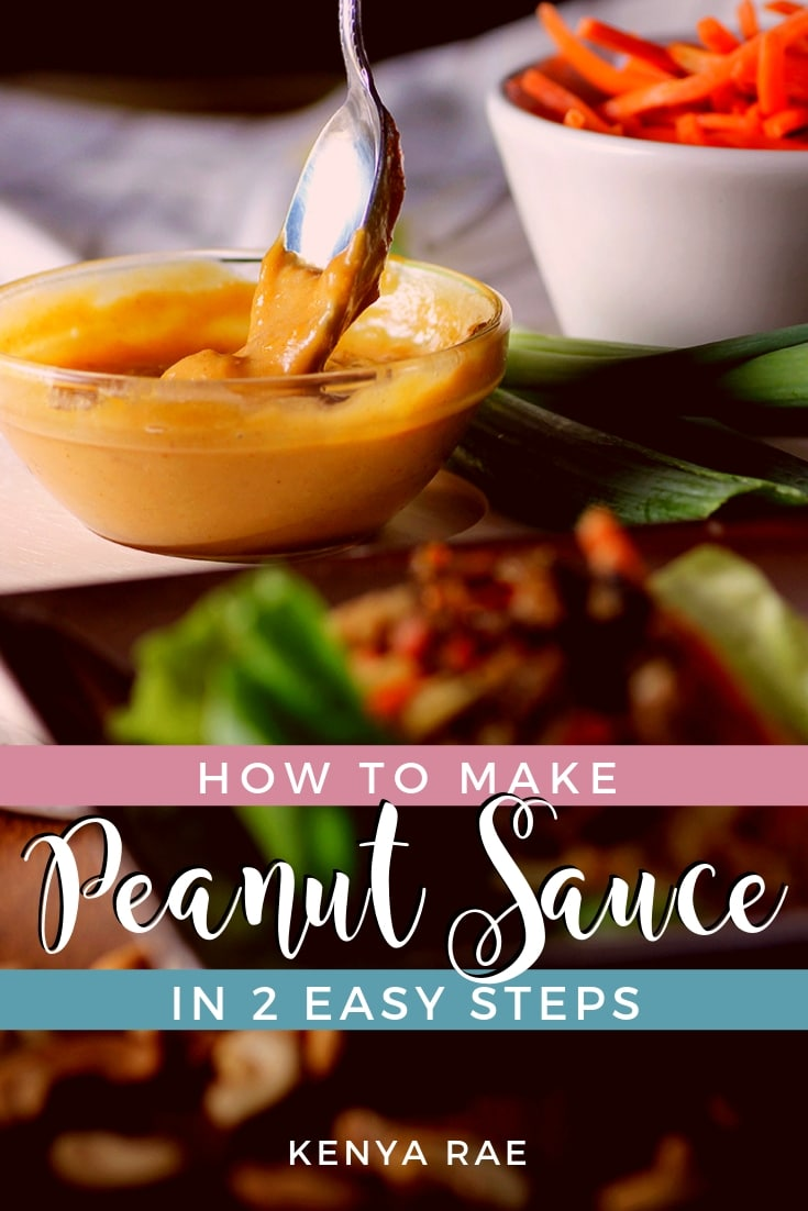 How To Make Peanut Sauce Thai Style in 2 Easy Steps A delicious tangy rendition of a favorite Asian sauce.  This Thai peanut sauce is perfect served over stir-fry, as a dipping sauce, and more. #homemade #saucerecipe #peanutsauce #thaicuisine #asiancuisine