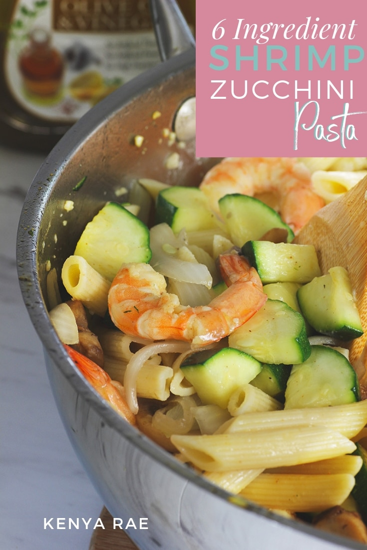 Simple 6 Ingredient Shrimp Zucchini Penne Pasta A simple recipe that has to be classified as healthy comfort food. A combo of veggies, pasta + a light sauce, Shrimp Zucchini Penne is perfect in every way! #30minutemeals #homemade #yum #delicious #detailsmakethedifference #simple #dinnerideas #dinnerrecipes #easymeals #simplefoods #baltimorefoodie #goodeats #freshfoods #mealprepping #comfortfood