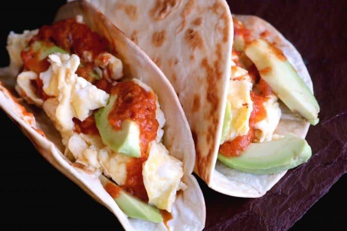 Healthy Breakfast Tacos with Egg, Avocado and Ranchero Sauce