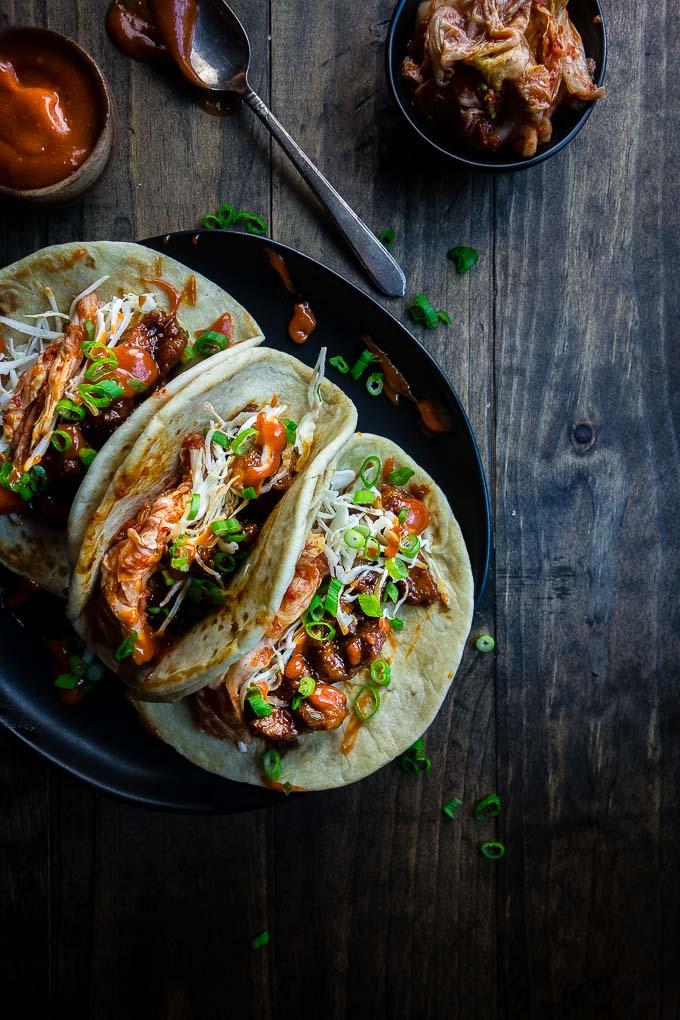 Korean Spicy Pork Bulgolgi Tacos