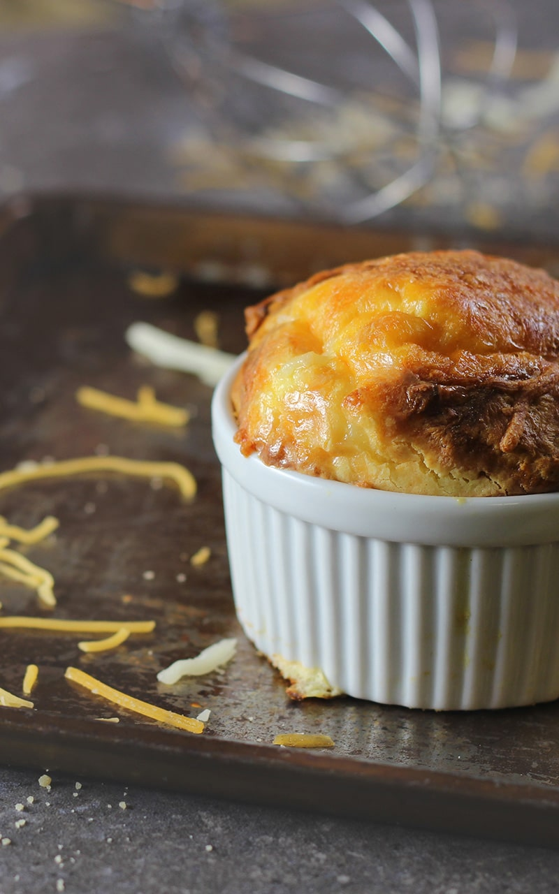 cooked 3 cheese egg souffle