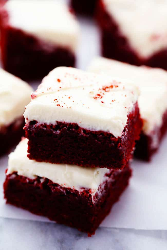 Red Velvet Brownies with Cream Cheese Frosting