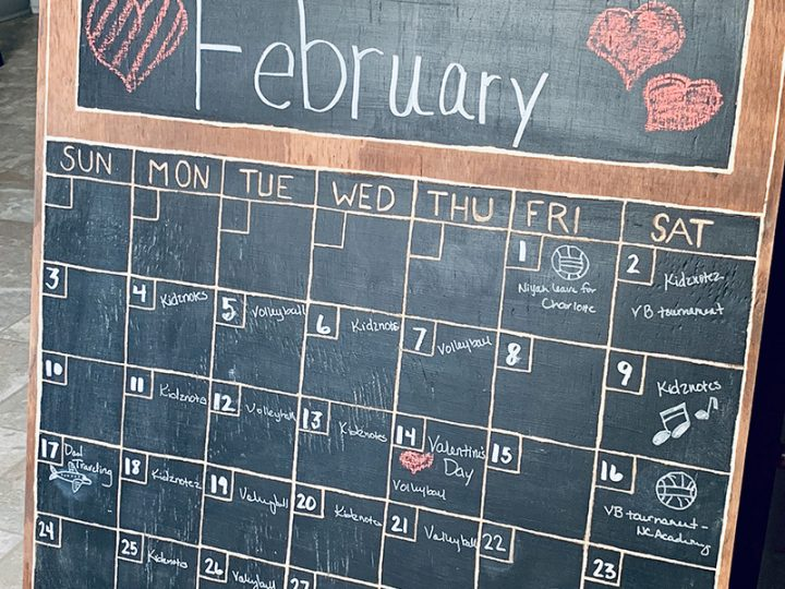 Wood Chalkboard Wall Calendar