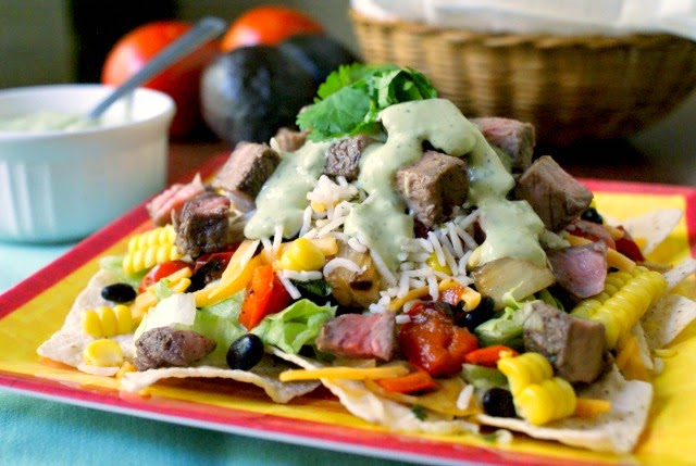 Grilled Steak and Rice Taco Salad with Creamy Avocado Cilantro Dressing