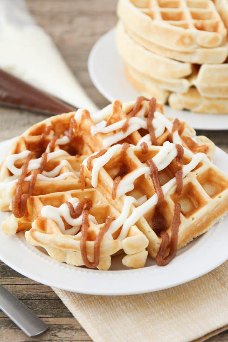 The Best Cinnamon Roll Waffles