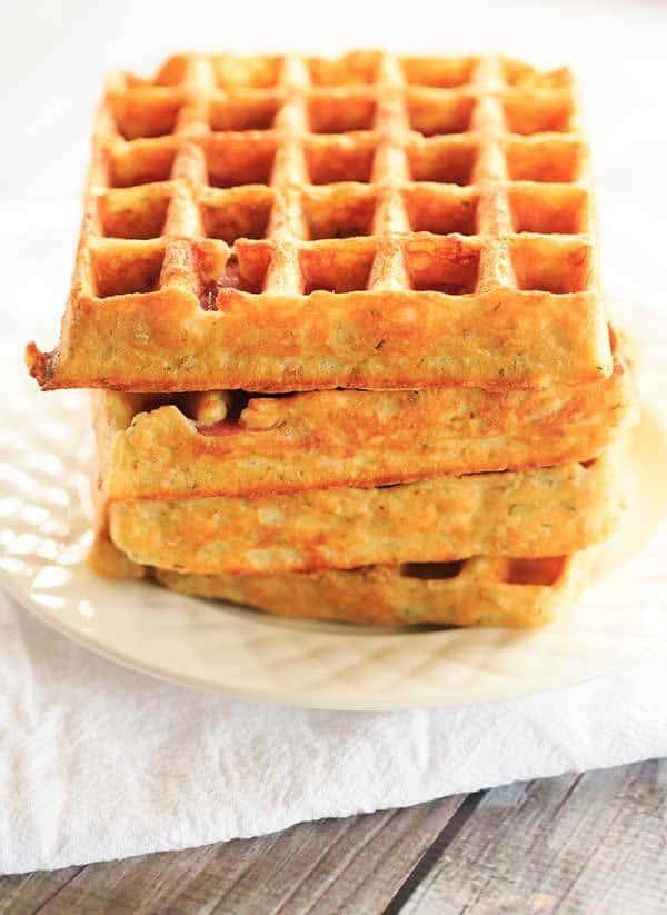 Savory Salami, Cheese & Herb Waffles