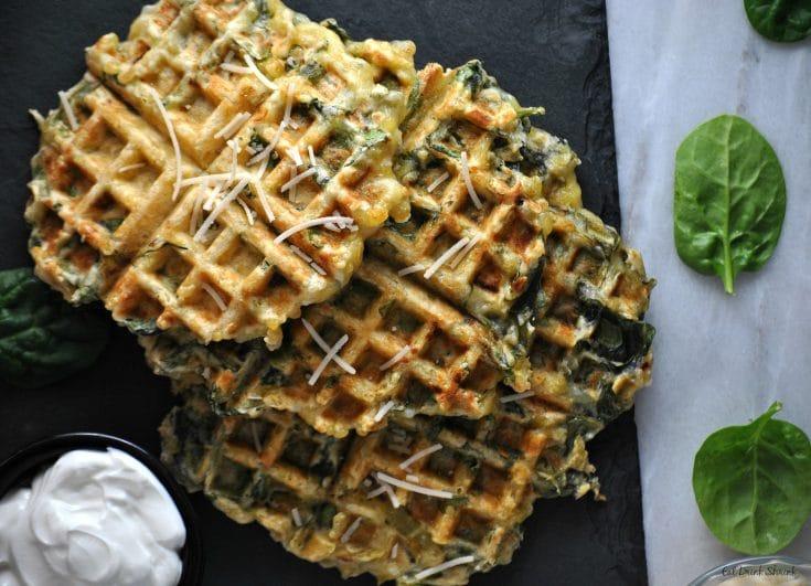 Vegan Spinach & Artichoke Waffles